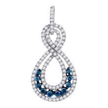 10K Yellow Gold Jewelry 0.53 ctw White Diamond & Blue Diamond Pendant - GD#89277 - REF#K24M1