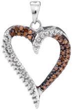 10K White Gold Jewelry 0.20 ctw White Diamond & Cognac Diamond Pendant - GD#94930 - REF#R15F6
