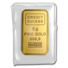 One 5 gram Gold Bar - Credit Suisse Statue of Liberty - WJA45922