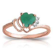 Genuine 1.02 ctw Emerald & Diamond Ring Jewelry 14KT Rose Gold - GG#4391
