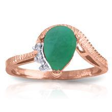 Genuine 1.02 ctw Emerald & Diamond Ring Jewelry 14KT Rose Gold - GG#4257