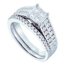 14K White Gold Jewelry 1.0 ctw Diamond Bridal Ring Set - GD#52338
