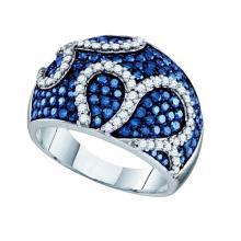 10K White Gold Jewelry 1.55 ctw White Diamond & Blue Diamond Ladies Ring - GD#72310