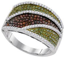 10K White Gold Jewelry 0.75 ctw Multi-color Diamond Ladies Ring - GD#93159