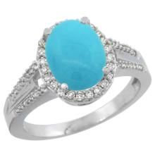 Natural 2.72 ctw turquoise & Diamond Engagement Ring 14K White Gold - SC#CW418174