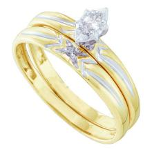 10K White Gold Jewelry 0.11 ctw Diamond Trio Ring Set - GD#39566