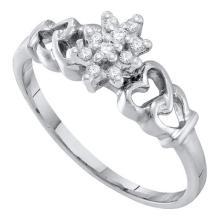 10K White Gold Jewelry 0.10 ctw Diamond Ladies Ring - GD#20304