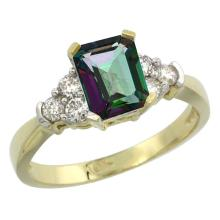 Natural 1.48 ctw mystic-topaz & Diamond Engagement Ring 10K Yellow Gold - SC#CY908169