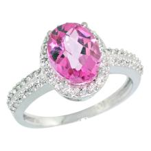 Natural 1.91 ctw Pink-topaz & Diamond Engagement Ring 10K White Gold - SC#CW906139