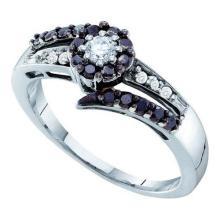 14K White Gold Jewelry 0.52 ctw White Diamond & Black Diamond Ladies Ring - GD#54182