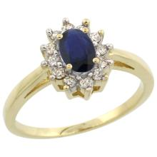 Natural 0.86 ctw Blue-sapphire & Diamond Engagement Ring 10K Yellow Gold - SC#CY953103