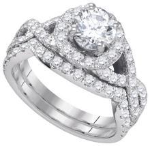 14K White Gold Jewelry 2.19 ctw Diamond Bridal Ring Set - GD#84183