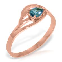 Genuine 0.3 ctw Blue Topaz Ring Jewelry 14KT Rose Gold - GG#4035