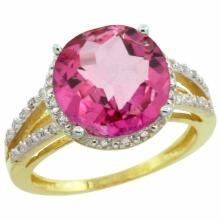 Natural 5.34 ctw Pink-topaz & Diamond Engagement Ring 10K Yellow Gold - SC#CY906110