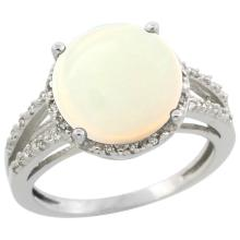 Natural 5.34 ctw Opal & Diamond Engagement Ring 14K White Gold - SC#CW420110