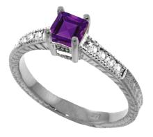Genuine 0.65 ctw Amethyst & Diamond Ring Jewelry 14KT White Gold - GG#3043