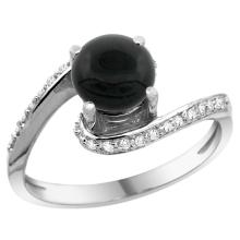 Natural 0.88 ctw onyx & Diamond Engagement Ring 10K White Gold - SC#10D312723W17