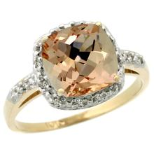 Natural 2.09 ctw Morganite & Diamond Engagement Ring 10K Yellow Gold - SC#CY913136