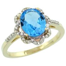 Natural 1.85 ctw Swiss-blue-topaz & Diamond Engagement Ring 14K Yellow Gold - SC#CY404105