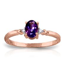 Genuine 0.46 ctw Amethyst & Diamond Ring Jewelry 14KT Rose Gold - GG#1220