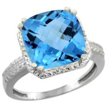 Natural 5.96 ctw Swiss-blue-topaz & Diamond Engagement Ring 10K White Gold - SC#CW904145