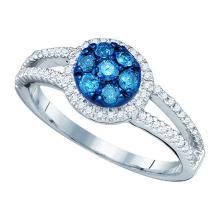 10K White Gold Jewelry 0.48 ctw White Diamond & Blue Diamond Ladies Ring - GD#60542