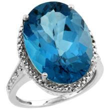 Natural 13.6 ctw London-blue-topaz & Diamond Engagement Ring 10K White Gold - SC#CW905108
