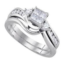 14K White Gold Jewelry 0.54 ctw Diamond Bridal Ring Set - GD#92811