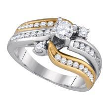 14K 2Tone Gold Jewelry 1.01 ctw Diamond Bridal Ring - GD#86711