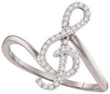10K White Gold Jewelry 0.16 ctw Diamond Ladies Ring - GD#98123
