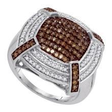 10K White Gold Jewelry 0.75 ctw White Diamond & Cognac Diamond Ladies Ring - GD#87192