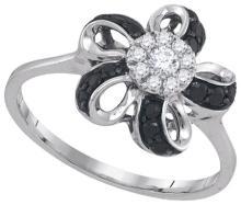 10K White Gold Jewelry 0.30 ctw White Diamond & Black Diamond Ladies Ring - GD#89984