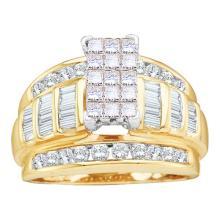 10K Yellow Gold Jewelry 1.05 ctw White Diamond & Cognac Diamond Ladies Ring - GD#80236