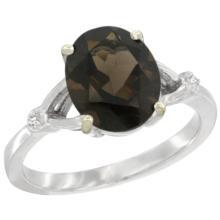 Natural 2.41 ctw Smoky-topaz & Diamond Engagement Ring 10K White Gold - SC#CW907112