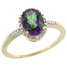 Natural 1.2 ctw Mystic-topaz & Diamond Engagement Ring 14K Yellow Gold - SC#CY408113