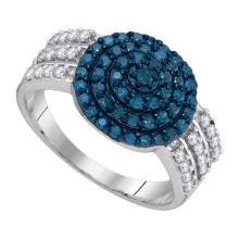 10K White Gold Jewelry 0.75 ctw White Diamond & Blue Diamond Ladies Ring - GD#89416