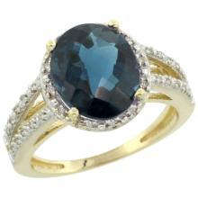 Natural 3.47 ctw London-blue-topaz & Diamond Engagement Ring 14K Yellow Gold - SC#CY405106