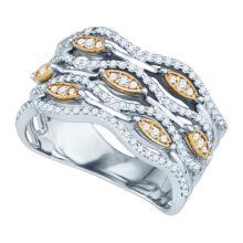 10K 2Tone Gold Jewelry 0.49 ctw White Diamond & Cognac Diamond Ladies Ring - GD#77472
