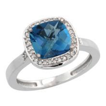 Natural 3.94 ctw London-blue-topaz & Diamond Engagement Ring 14K White Gold - SC#CW405151