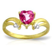 Genuine 0.96 ctw Pink Topaz & Diamond Ring Jewelry 14KT Yellow Gold - GG#2143