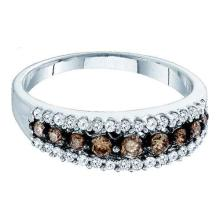 10K White Gold Jewelry 0.50 ctw White Diamond & Cognac Diamond Ladies Ring - GD#74263