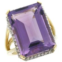 Natural 15.06 ctw amethyst & Diamond Engagement Ring 14K Yellow Gold - SC#CY401133