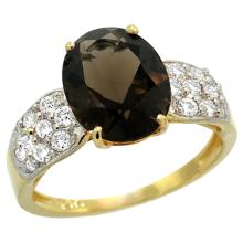 Natural 2.75 ctw smoky-topaz & Diamond Engagement Ring 14K Yellow Gold - SC#R289771Y07