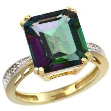 Natural 5.42 ctw Mystic-topaz & Diamond Engagement Ring 10K Yellow Gold - SC#CY908149