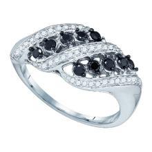 10K White Gold Jewelry 0.50 ctw White Diamond & Black Diamond Ladies Ring - GD#79477