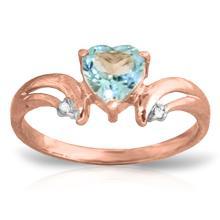 Genuine 0.96 ctw Blue Topaz & Diamond Ring Jewelry 14KT Rose Gold - GG#1202