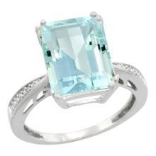 Natural 5.42 ctw Aquamarine & Diamond Engagement Ring 10K White Gold - SC#CW912149