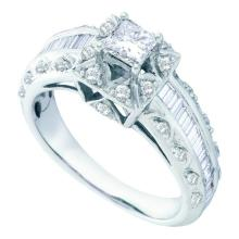 14K White Gold Jewelry 0.94 ctw Diamond Bridal Ring - GD#52985