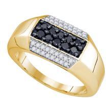 10K Yellow Gold Jewelry 0.74 ctw White Diamond & Black Diamond Ladies Ring - GD#81826