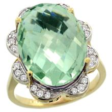 Natural 13.83 ctw green-amethyst & Diamond Engagement Ring 14K Yellow Gold - SC#R308021Y02